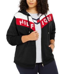 tommy hilfiger sport plus size colorblocked zippered hoodie