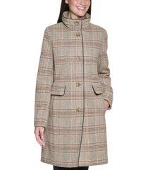 dkny plaid walker coat, created for macy's