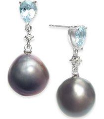 cultured baroque black tahitian pearl (12mm) & aquamarine (1-3/8 ct. t.w.) & diamond (1/20 ct. t.w.) drop earrings in 14k white gold