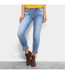 calça jeans skinny cintura média colcci franjas barra feminina