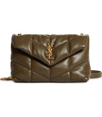 saint laurent toy loulou puffer quilted leather crossbody bag - grey