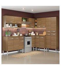 cozinha completa de canto reto madesa emillyicecom armário e balcáo 15 portas 1 gaveta marrom