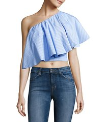 yakura one-shoulder ruffle striped top