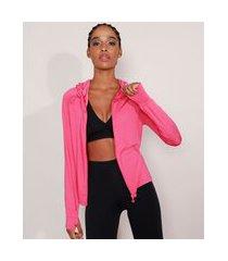 jaqueta esportiva ace com capuz e dedeira pink