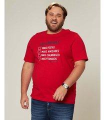 camiseta check list em meia malha wee! vermelho - gg