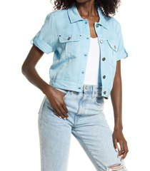 guess short sleeve denim shirt jacket, size x-small in navy at nordstrom
