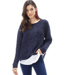 sweater chenille blusa mujer navy corona