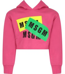 msgm fuchsia girl sweatshirt with black logos