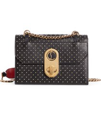 christian louboutin small elisa studded calfskin leather shoulder bag - black