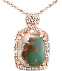 "le vian peacock aquaprase (12 x 10mm) & vanilla topaz (1/4 ct. t.w.) 18"" pendant necklace in 14k rose gold"
