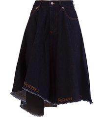 j.w. anderson jw anderson logo-trim asymmetric denim skirt