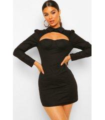 bodycon mini blouse jurk met uitsnijding, black