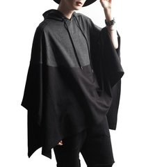 incerun poncho informal con empalme de bloques de color irregular para hombre capucha