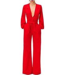 mono de mujer con manga larga y pantalón ancho-rojo