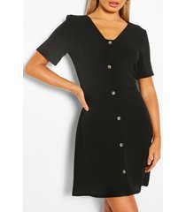 geweven jurk met knopen, zwart