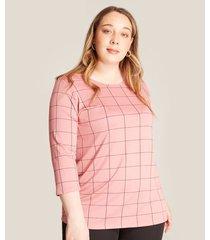 camiseta mujer estampada cuadros