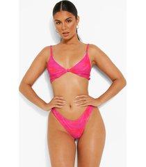 opgeknoopte roze driehoekige palm print bikini top, pink