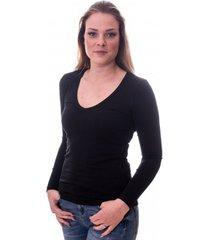 claesens women t-shirt v-neck l/s black( 8011 )