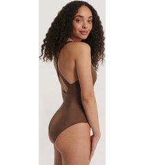 trendyol baddräkt med korslagda band bak - brown