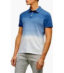 calvin klein men's short sleeve monogram ombre slub polo shirt