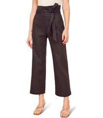 women's reformation jackie high waist tie belt linen crop pants