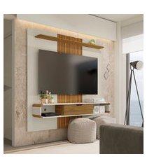 painel lisboa para tv até 65 pol móveis bechara 1 porta off white e cinamomo