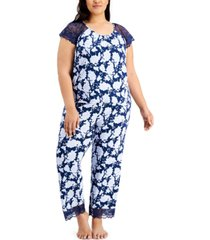 charter club plus size lace-trim pajama set, created for macy's