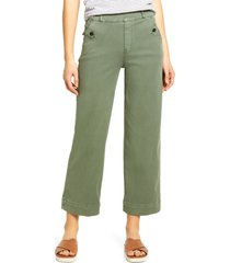 women's spanx wide leg twill pull-on pants, size large - green