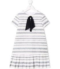 il gufo ribbon bow striped dress - white