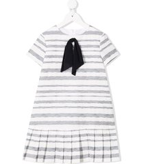 il gufo ribbon bow striped dress - white