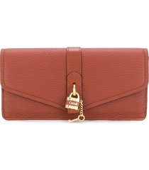 chloé aby long wallet - brown