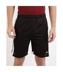 calção masculino esportivo ace futebol com recortes e cós com elástico preto