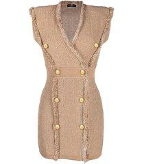 elisabetta franchi sleeveless knitted blazer dress - neutrals