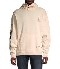 g-star raw men's sleeve graphic textured hoodie - beige - size xl