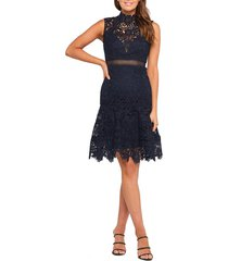 women's bardot elise lace cocktail dress, size large - blue