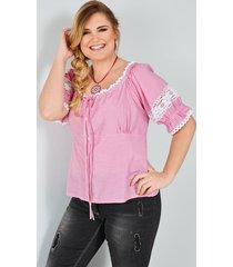 tiroler blouse sara lindholm roze::wit