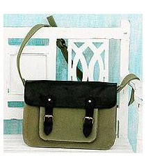 leather accent cotton messenger bag, 'casual in green' (india)