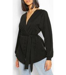 crepe cuffed bell sleeve mini tie kimono, black