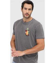 camiseta osklen abacaxi floral grafite