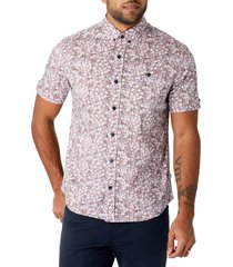 7 diamonds still standing floral short sleeve stretch button-down shirt, size xx-large in dusty rose at nordstrom