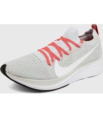 tenis lifestyle blanco-coral nike zoom fly flyknit