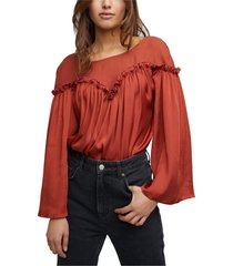 women's free people she's a natural bell sleeve bodysuit, size x-small - red