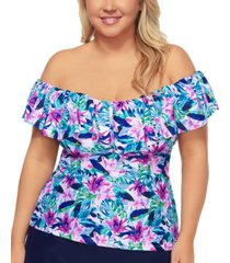 island escape plus size off the shoulder tankini top, created for macy's women's swimsuit