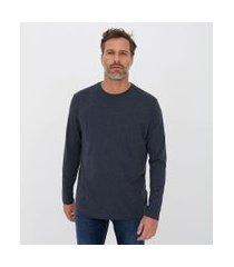 camiseta comfort em algodão peruano manga longa básica | marfinno | azul | p