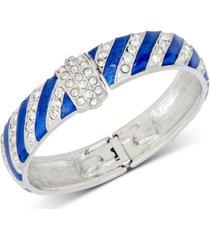 holiday lane silver-tone pave stripe hanukkah bangle bracelet, created for macy's