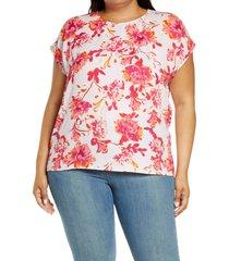 plus size women's halogen cap sleeve blouse, size 1x - pink