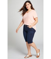 lane bryant women's tighter tummy fit high-rise denim bermuda short - dark wash 14 dark denim