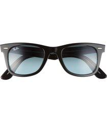 ray-ban 'classic wayfarer' 50mm sunglasses - black/ gradient blue