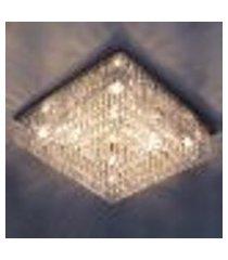 luminária lustre de cristal para sala, quarto quadrado galaxy 45x45x15cm - jp/galaxy/45