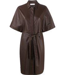 fabiana filippi belted shirt dress - brown